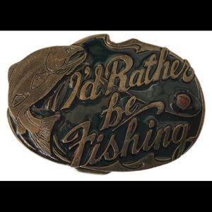 """Other - Vintage """"I'd Rather be Fishing"""" belt buckle"""